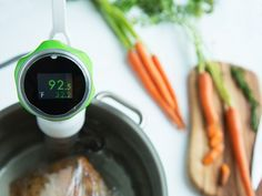 Sous Vide at home with Nomiku, discovered by The Grommet. This immersion circulator clips onto any pot and works with everyday zipper bags.