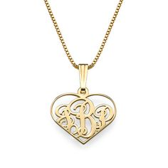 'XS Heart Monogram Necklace in 18k Gold Plating'