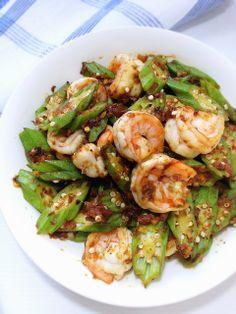 Cuisine Paradise | Singapore Food Blog | Recipes, Reviews And Travel: [2 Recipes] Stir-fry Okra With Anchovies Or Prawn