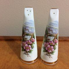 Alberta Canada Salt and Pepper Shakers  Fine Bone China