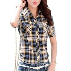 Plus Size Tops Casual Short Sleeve Plaid Shirts Women Summer Blouses Cotton Shirt Office Work Slim Shirt Female Blusa - Fabtag Plaid Shirt Outfits, Plaid Shirt Women, Plaid Shirts, Women's Shirts, Collar Shirts, Plus Size Shorts, Plus Size Tops, Plaid Fashion, Fashion Blouses