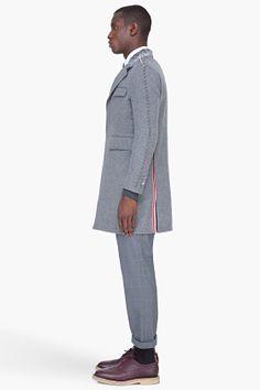 Thom Browne Grey Studded Cashmere Storm Coat