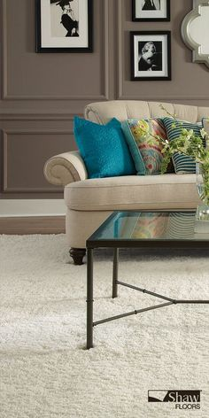 Easy on the eye and soft under foot, a custom 'Celeb' rug is an island of comfort unto itself, beckoning all to glide across its fibers. An excellent option for a comfortable flooring solution in a living room or family room. #carpet #flooring #Shaw #ProSourceWholesale