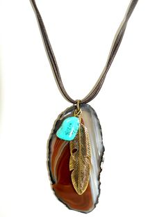 Mkaltenbach feather and turquoise necklace