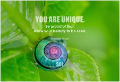 You are unique. Be proud of that. Allow your beauty to be seen. - Bronnie Ware #acceptyourself #loveyourself #quote #inspirational #inspirationalquote #inspirationalwords #picturequote #picture