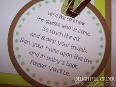baby shower thank you poems   This little tree was the guest book that the guests put their ...