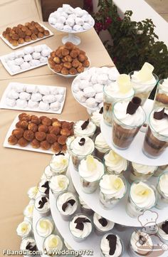 Design W 0752 | Dessert Bar featuring Mexican Wedding Cookies, Mexican Chocolate Cream Puffs, Tres Leches Shooter Cups, Mexican Chocolate Shooter Cups  | Custom Quote
