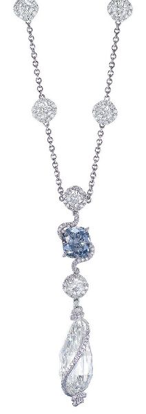 AN IMPORTANT COLOURED DIAMOND AND DIAMOND PENDENT NECKLACE The cushion-shaped fancy intense blue diamond weighing approximately 2.04 carats, joined to the brilliant-cut diamond undulating link extending to and encircling a briolette diamond weighing approximately 12.05 carats, suspended from a neckchain set with spacers designed as cushion-shaped diamonds within a brilliant-cut diamond surround, mounted in platinum, 40.0 cm long