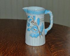Antique Germany Porcelain Small Pitcher /Creamer Blue and White w Embossed Flowers