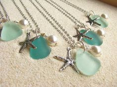 Sea Glass jewelry. These would be cute for bridesmaids for an ocean theme!