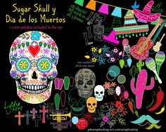 Sugar Skull Calavera Dia de los Muertos FREE shapes (templates) kit. Make cards, posters, flyers, decorations, wallpapers, decorate your sugar skull. Make your skeletons dance, play instruments, and more.  Free shapes kit (templates) to use over and over, within Paint.Net, in different sizes, with different textures, outlines, or solids.