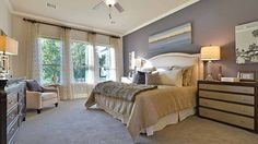 Cool colors offer calm in this master bedroom by Darling Homes. #masterbedroom #decor