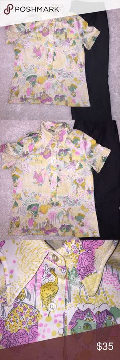 Vintage Devon Polo type Shirt Fairy Tale Print Vintage Devon 190% polyester Polo type short sleeve shirt. Pointed collar and longer 5 button placket.  Print is a Fairy Tale ~ Renaissance design shades of dark yellow, pink, green. Vintage Tops