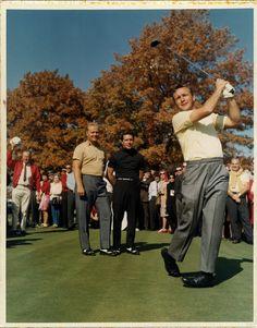 Arnie tees off in front of Jack & Gary