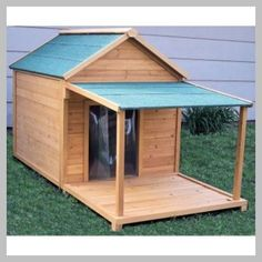 60 Best Dog House Plan Ideas for Your Beloved Pets These cost-free DIY dog house plans will make certain that your dog has a safe haven from the weather and also you can take pride that you built it j Dog House With Porch, Dog House Bed, Build A Dog House, Puppy House, Large Dog House Plans, Pallet Dog House, Cool Dog Houses, Dog Runs, Old Dogs