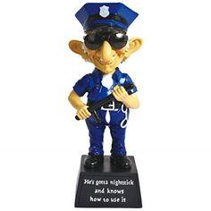 WL SSWL12769 Old Police Officer With Night Stick Bobble Black  Blue Figurine 6 >>> Visit the image link more details.