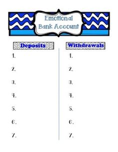 A personal emotional bank account for the students data notebook. The 7 Habits of highly productive students and Leader In Me promotes drops in the bucket and making withdrawals into personal bank accounts. This chart can be used for students to write down when they add to people's emotional bank accounts and when they make withdrawals.