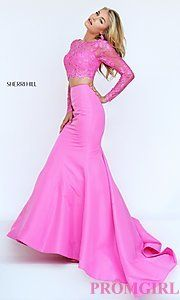 Buy Long Sleeve Sherri Hill Two Piece Dress at PromGirl