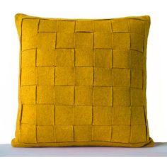 Mustard Pillow Felt Weave Pillows Decorative Throw Pillow Cover Gift... (1,735 INR) via Polyvore featuring home, home decor, throw pillows, dark orange, decorative pillows, home & living, home décor, mustard throw pillow, modern home accessories and mod home decor