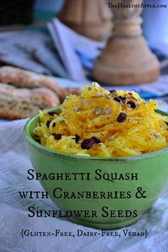 Spaghetti Squash with Cranberries and Sunflower Seeds {Gluten-Free, Dairy-Free, Vegan} #glutenfree