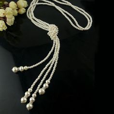 Exquisite Style Knot Pearl Embellished Women's Sweater Chain Necklace, AS THE PICTURE in Necklaces | DressLily.com