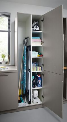 Utility Rooms by Schüller - Schuller by Artisan Interiors Small Utility Room, Utility Room Storage, Utility Room Designs, Utility Closet, Small Laundry Rooms, Laundry Room Organization, Laundry Storage, Vacuum Storage, Ikea Utility Room
