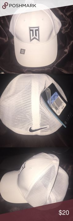 NWT Tiger Woods Tour Hat New with tags! White tiger woods tour men's dry fit cap. All white with black logo. M/L fit 65% polyester 35% cotton Nike Accessories Hats