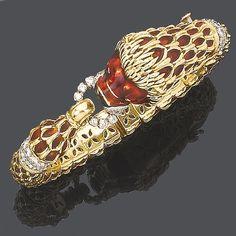 An enamel and diamond bangle, by Kutchinsky,