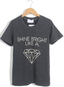 Dark Grey Short Sleeve Letters Diamond Print T-Shirt - Sheinside.com