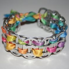 Rainbow Pastels Pop Can Tab Bracelet by eclecticKel on Etsy, $3.50