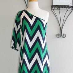 Blue, Green, & white cheveron one shoulder dress at Brown Eyed Girl