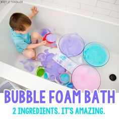 Bubble Foam Bath: A Sensory Activity - Busy Toddler Bubble Activities, Sensory Activities Toddlers, Gross Motor Activities, Games For Toddlers, Infant Activities, Preschool Activities, Bubble Games, Toddler Sensory Bins, Toddler Play