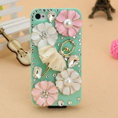 Bling iphone 4 case,iphone 4s case,cute iphone 4 case,iphone 4 case floral,crystal flowers dancing girl cover for iphone