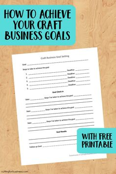 How to Achieve Your Craft Business Goals (+ Free Printable) for Silhouette Cameo and Cricut Explore or Maker small business owners - cuttingforbusines. Business Planner, Business Journal, Business Goals, Small Business Marketing, Business Tips, Business Meme, Business Management, Business Branding, Business Quotes