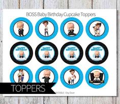 BOSS Baby Birthday Party PRINTABLE Cupcake Toppers Instant