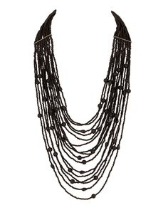 Multilayered Black Bead Necklace