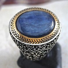 925 Sterling Silver Mens Ring with natural Kyanite size US 11