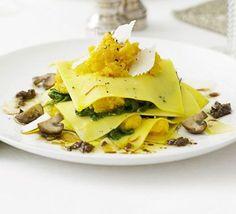 Open ravioli with squash & porcini mushrooms