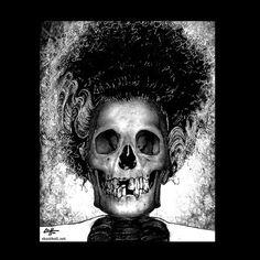 Print 8x10  The Bride  Frankenstein Dark Art Skull by chuckhodi