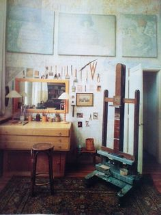 Karina Nielson Rios - Studios and Workspaces. This Pinterest board displays a range of artist working spaces. You will find that many of them are also capable of being exhibition spaces, whilst others are explicitly for art making. It is interesting to see how artists work in their spaces, how it accommodates their artistic needs, and how they experiment with an artworks presentation while it has not yet been exhibited.