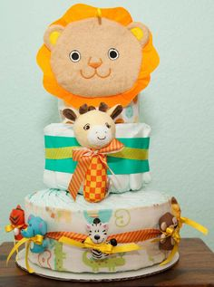 Zoo animal Diaper Cake Customize to fit your by lovetiesbymeggin, $60.00