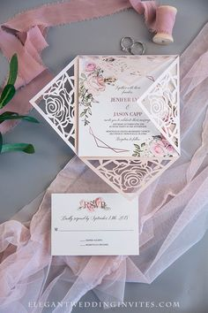 Geometric blooms pink florals and geometric pattern wedding invitation with blush shimmer laser cut fold Elegant Wedding Colors, Blush Pink Weddings, Laser Cut Wedding Invitations, Reception Card, Response Cards, Precious Moments, Unique Weddings, Vows, Florals