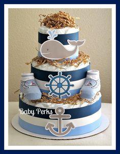 Nautical Diaper Cake by MsPerks on Etsy, $45.00