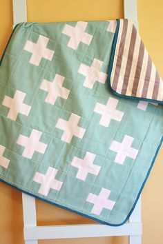 Baby Quilt GEOMETRIC plus cross mint by PETUNIAS blanket crib nursery decor baby shower gift newborn photo prop hipster modern chevron gray
