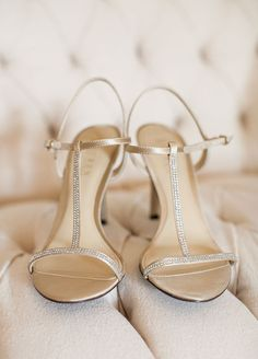 Elegant silver wedding shoes.