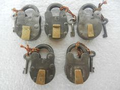 Old Lot Of 5 Solid Handcrafted Different Iron Padlocks , Nice Patina