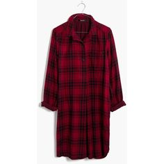MADEWELL Latitude Shirtdress in Leland Plaid (320 BRL) ❤ liked on Polyvore featuring dresses, combo bright garnet, plaid dress, sleeved dresses, long-sleeve shirt dresses, t-shirt dresses and bright dresses