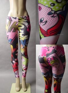 Comic Book Cartoon 50s Pinup 60s Pop Art Graphic Print Pant 17 mv Legging