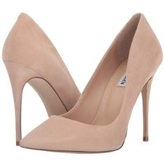Steve Madden Daisie (Blush Suede) Women's Shoes (660 GTQ) ❤ liked on Polyvore featuring shoes, pumps, heels, fleece-lined shoes, heel pump, slip-on shoes, daisy shoes and suede pointy toe pumps