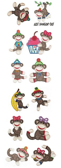 Embroidery | Free Maching Embroidery Designs | Sock Monkeys Applique 4x4 hoop